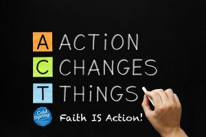 Art depicting the letters A-C-T-F for Action Changes Things Faith IS Action