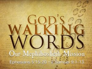 Image of footsteps in the sand. God's walking words to us about our Miphibosheth Mission in the community.