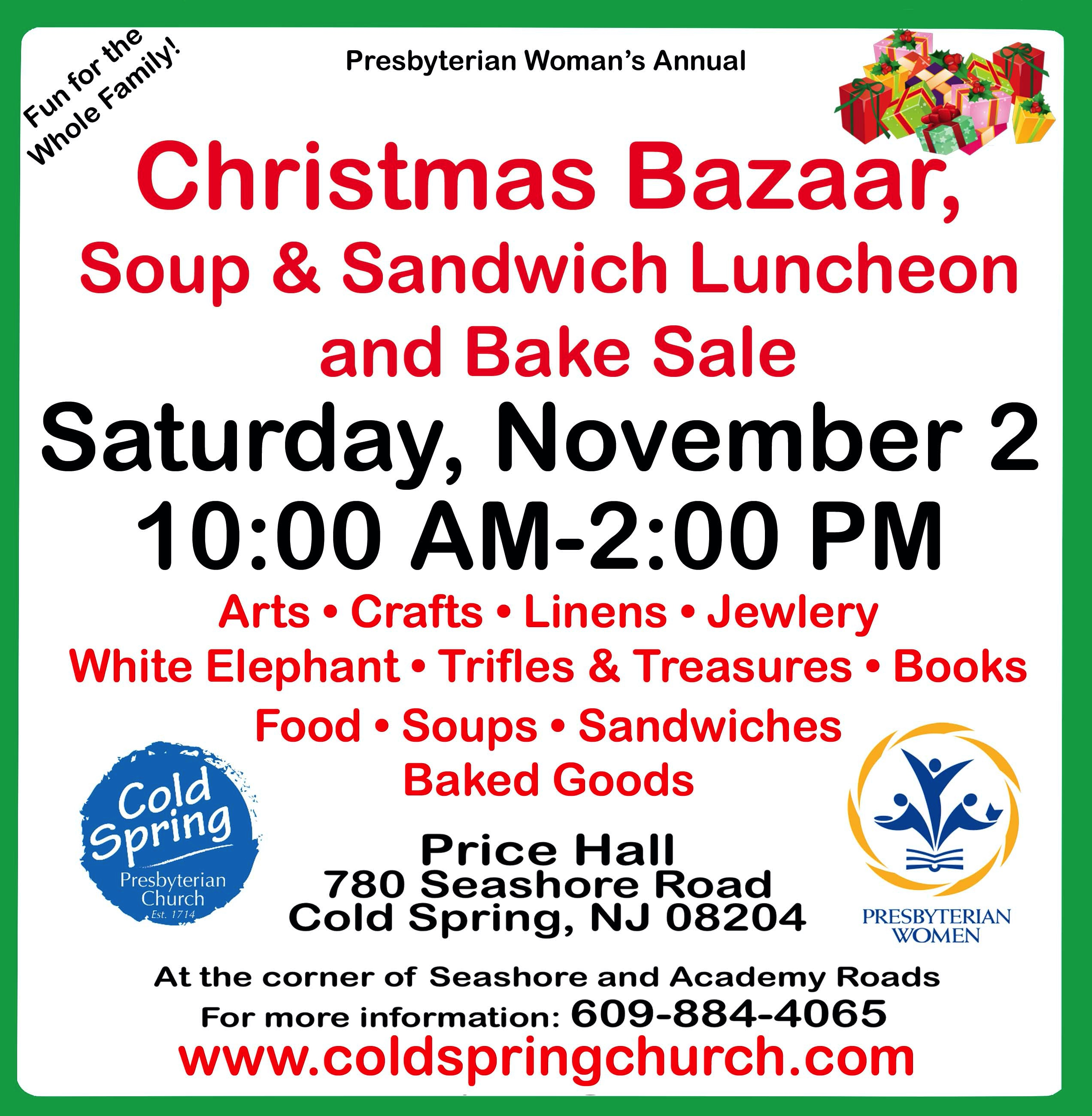 Christmas Bazaar Soup Sandwich Luncheon And Bake Sale Cold Spring Church
